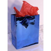 "Royal/Dark Blue Metallic Gift/Tote Bag - 6.5"" x 4.5"" x 2"""