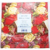 Red/Yellow Roses - Flat Gift Wrap - 2 sheet pack - 20' x 30' Wholesale Bulk