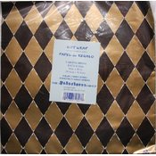 Black/Gold Diamonds - Flat Gift Wrap -2 Sh/PK - 20' x 30' Wholesale Bulk