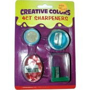 Pencil Sharpeners - 4 pack - assorted shapes Wholesale Bulk