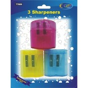 Pencil Sharpeners - double hole - 3 pack Wholesale Bulk