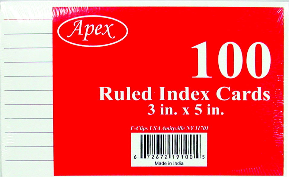 ''3'''' x 5'''' Ruled Index Cards - 100 Count (1281377)''