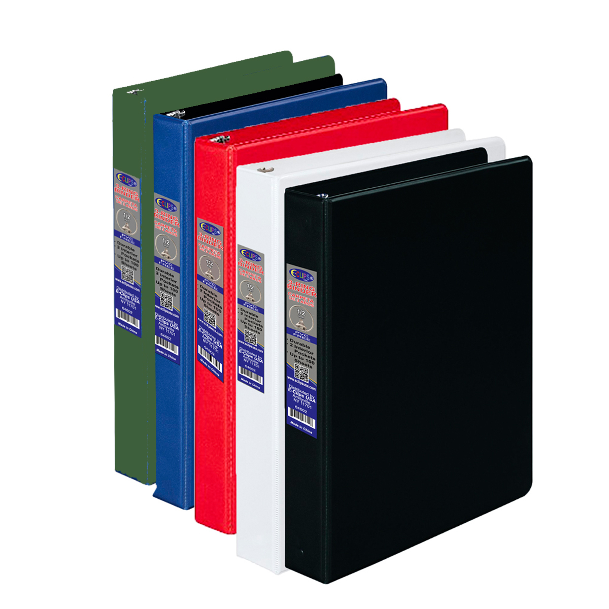 wholesale half inch 3 ring vinyl binder assorted colors