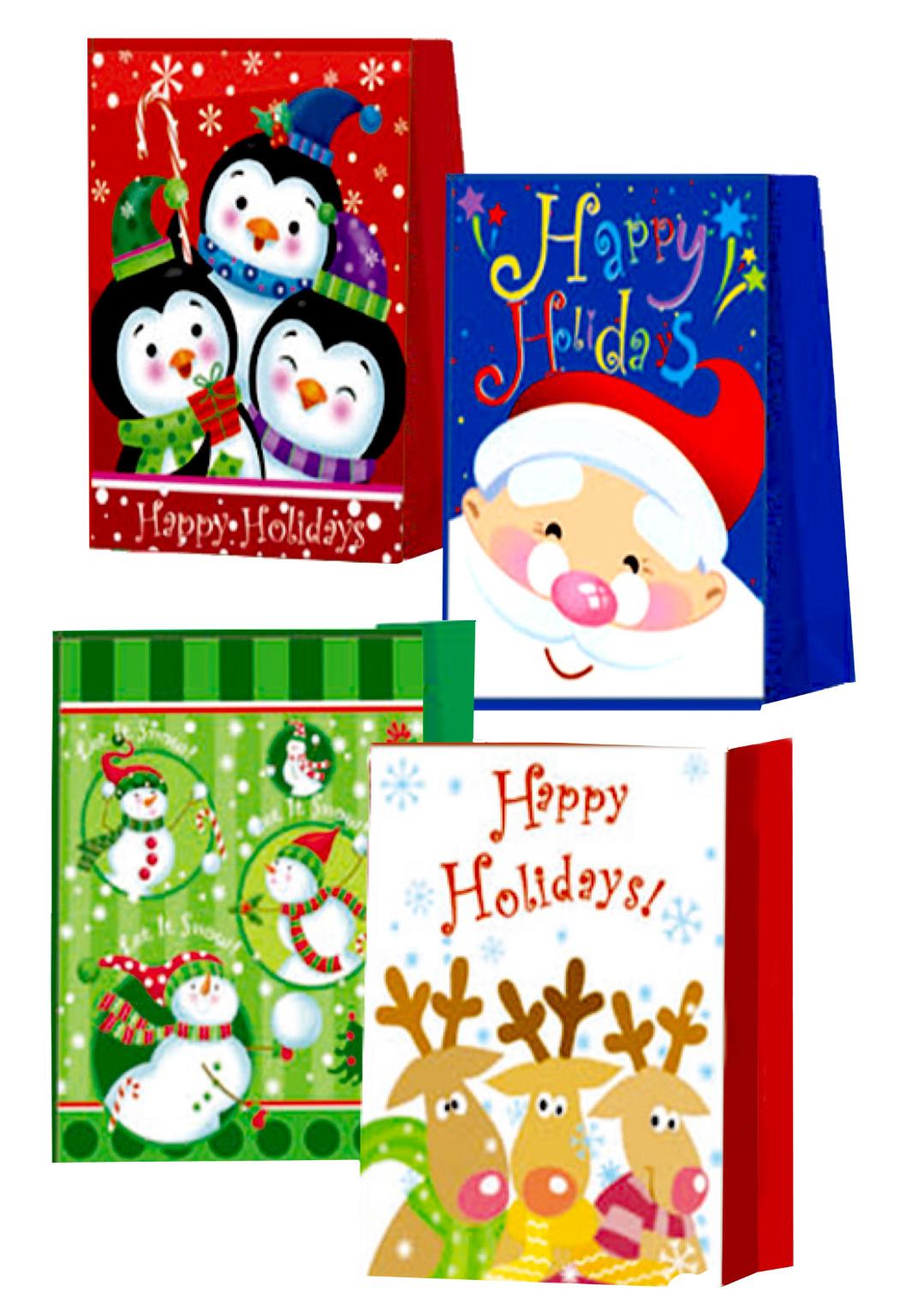 ''CHRISTMAS Gift Bags - Medium size - 9'''' x 7'''' x 4'''' - Asst (1930942)''
