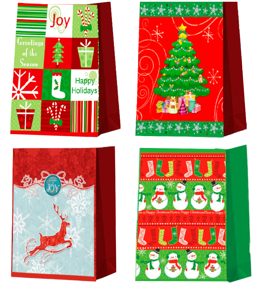 ''CHRISTMAS Gift Bags - Large size - 12.5'''' x 10'''' x 5'''' - A (1930943)''