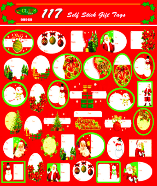 CHRISTMAS Gift Tags - 117 assorted designs [1472599]