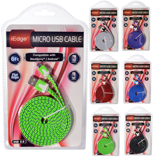 6ft Micro USB Flat Rope Cable [1875372]