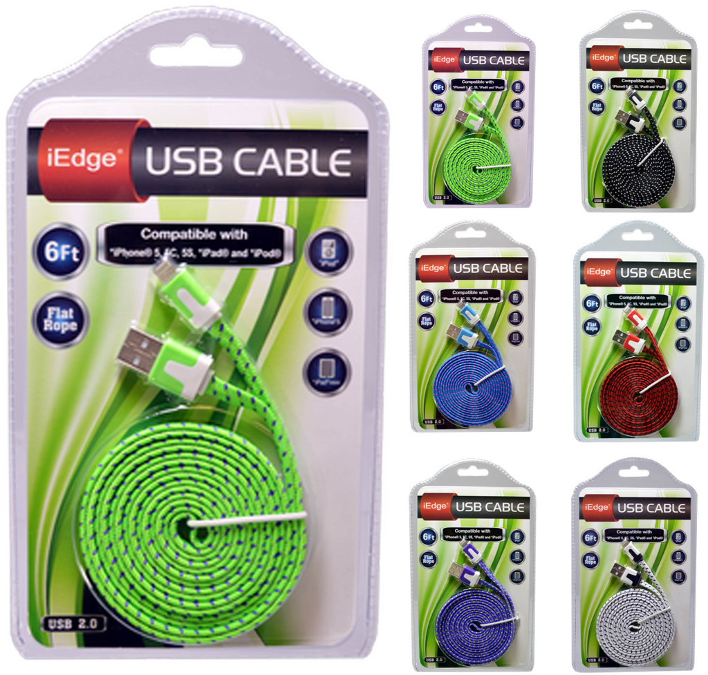 6 Foot Flat Rope Cable for iPhone 5/6 [1875882]