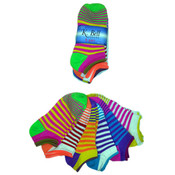 K. Bell Women's Novelty Socks - Neon Striped - 6-Pair Pack Wholesale Bulk