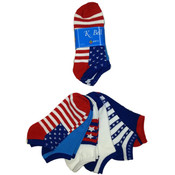 K. Bell Women's Novelty Socks - Patriotic - 6-Pair Packs Wholesale Bulk