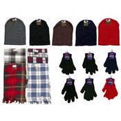 Winter Beanie Hats, Gloves, and Plaid Scarves