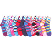 Ladies Fuzzy Socks with Stripes