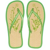 Women&#39;s Bamboo Flip Flops with Flowers