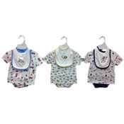 Infant Boy's 3-Piece Diaper Shirt Sets w/ Bibs