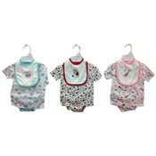 Infant Girl&#39;s 3-Piece Diaper Shirt Sets w/ Bibs