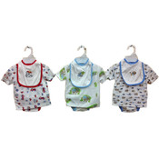 Infant Boy&#39;s 3-Piece Diaper Shirt Sets w/ Bibs