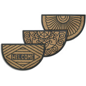 Coir Semicircular Welcome Mats- Asst. Designs Wholesale Bulk
