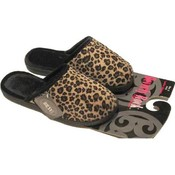 Ladies Leopard Slip-On Slippers