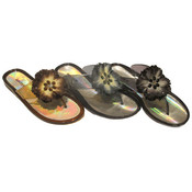 Women's Jelly Thong Sandals w/ Flower Adornment
