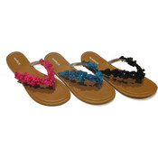 Women's Thong Sandals w/ Solid Floral Adornment