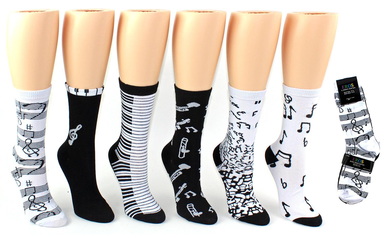 Women's Crew Socks - MUSIC Prints Size 9-11 [1990251]