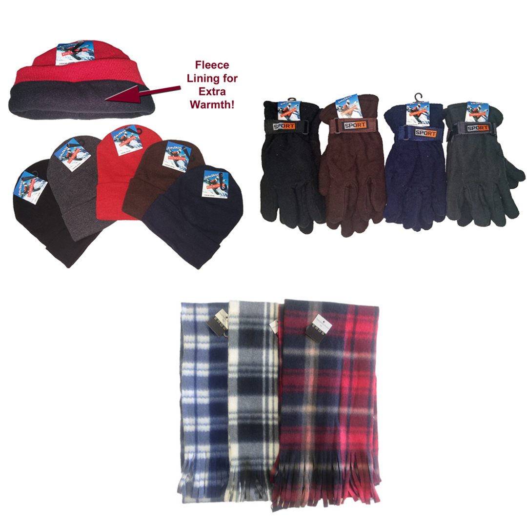 wholesale s fleece lined knit hats gloves scarf set