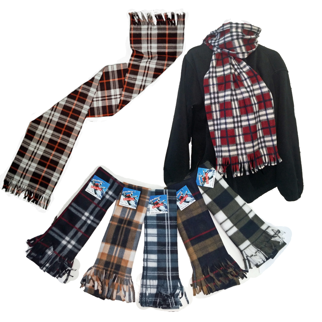 wholesale premium fleece scarves plaid prints sku