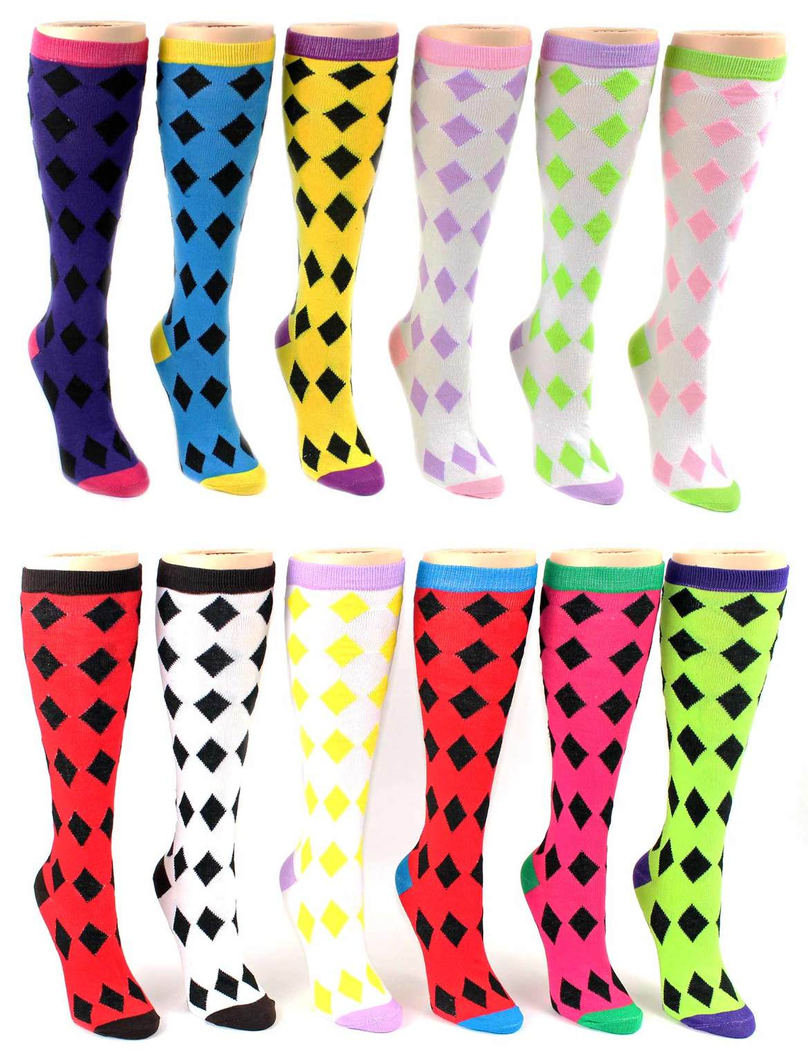 Womens Knee High COMPUTER Argyle Socks - Size 9-11 [328638]