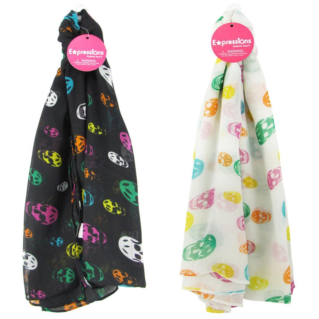wholesale expressions rainbow skull print scarves sku