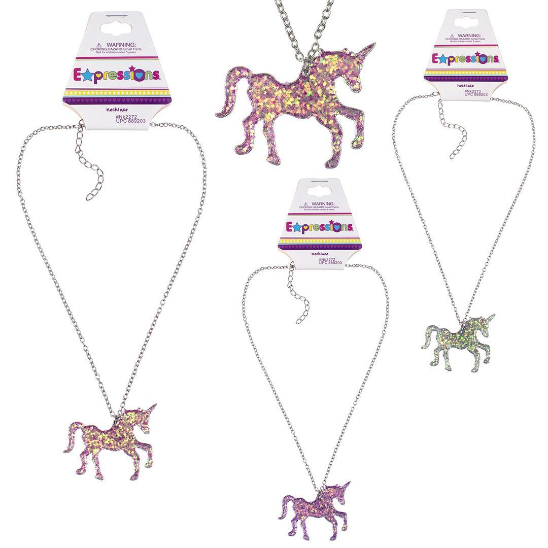 Metal Glitter Unicorn CHARM Necklaces [2132948]