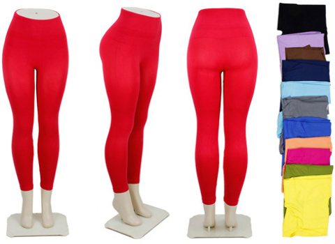 Asst Solid Color High Waist LEGGINGS - One Size (1851567)