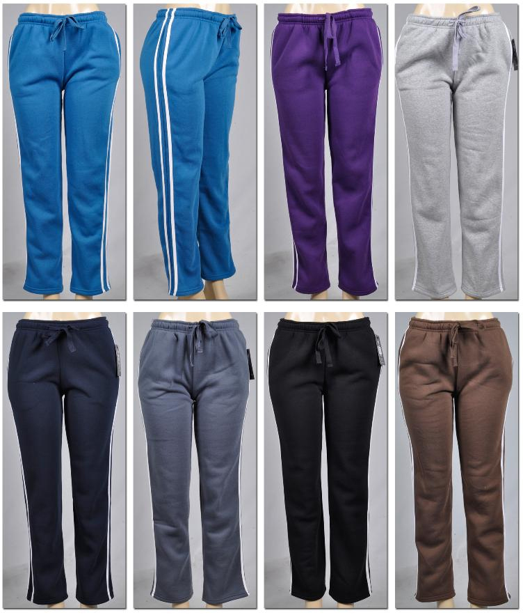 Women's Fleece Lined Pants with Side Stripe (2128154)