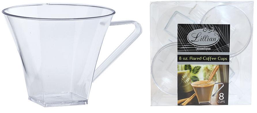 Clear 8 oz. Plastic Flared Square Coffee MUGs Set (2185068)