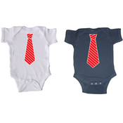 Red Striped Necktie Short Sleeve Baby Creepers