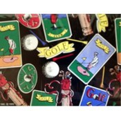 Old Tyme Golf Flat Wrapping Paper Wholesale Bulk