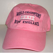 "Pink ""New England World Champions XXXIX"" cap."