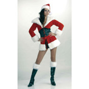 Sexy Santa Fur Trimmed Jacket w/Attached Corset &amp;amp; Hat