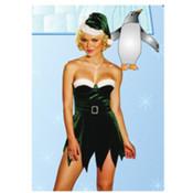 2 Pc Santa's Elf Velvet Dress W/Rhinestone Belt Buckle & Hat Green Large 14 (Pack of 1)