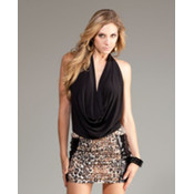 Forplay Inc. Halter Top w/Deep Plunging Cowl Neck- Black, Large Wholesale Bulk