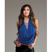 Forplay Inc. Halter Top w/Deep Plunging Cowl Neck- Blue, Large Wholesale Bulk