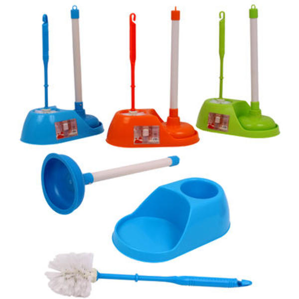 wholesale toilet brush plunger set with holder sku 2271597 dollardays. Black Bedroom Furniture Sets. Home Design Ideas