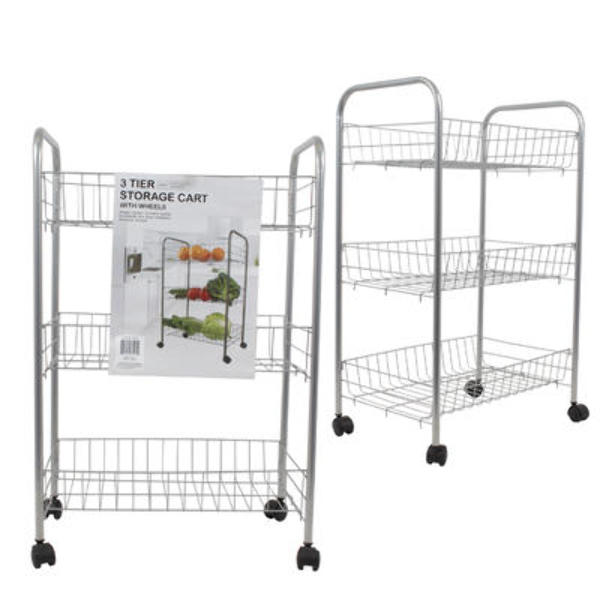 Wholesale 24.4 Inch Metal 3 Tier Storage Cart With Wheels (SKU 2289853)  DollarDays