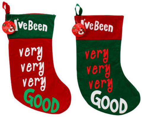 ''CHRISTMAS Been Very Good Stocking - Assorted, 17.5''''H (2010290)''