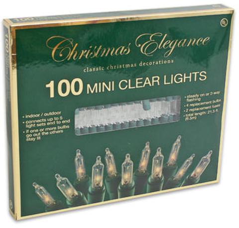 100 Clear Mini CHRISTMAS Lights (2010248)