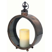 Greenwich Circular Lantern with Flameless Candle