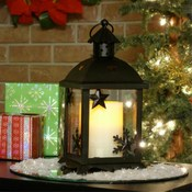 Small Winter Lantern w/ Flameless Candle - Bronze