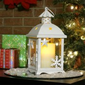 Small Winter Lantern - w/ Flameless Candle- White
