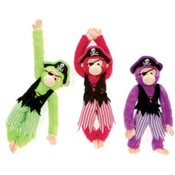 16&quot; Plush Pirate Monkeys In 3 Bright Colors