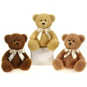 "9"" 3 Assorted Color Sitting Bears W/Ribbon"