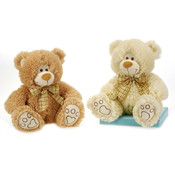 "9.5"" 2 Assorted Sitting Bears W/ Ribbon"